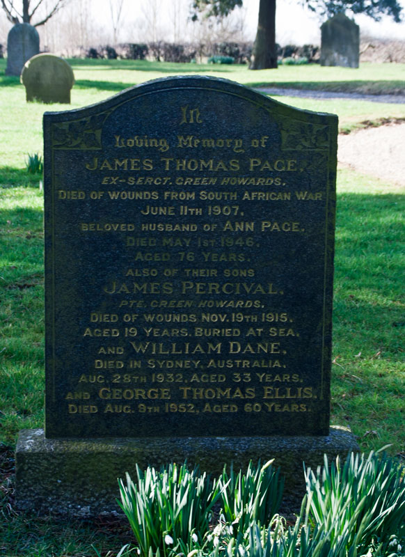The Page Family Headstone - St. Mary's Churchyard, Eryholme