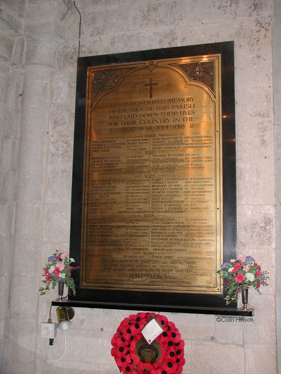 The Commemorative Plaque for the First World War in St. Oswald's Church, Filey