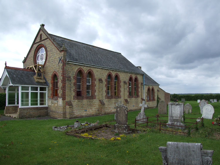 The Coveney Wesleyan Methodist Chapel, with Private Walker's grave on the right.