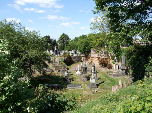 A general view of Nottingham Church Cemetery showing some of the natural sandstone formations.