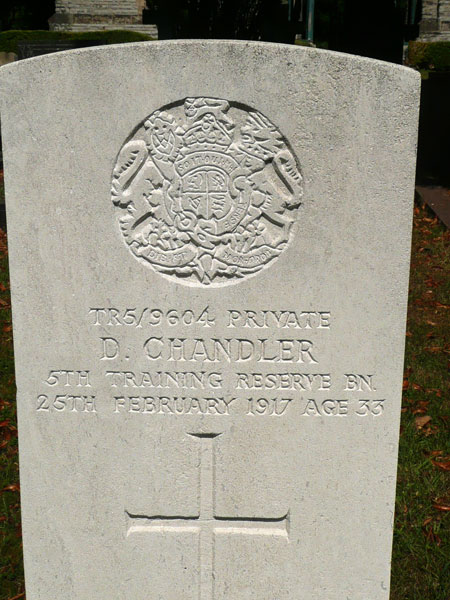 The grave of Private Chandler