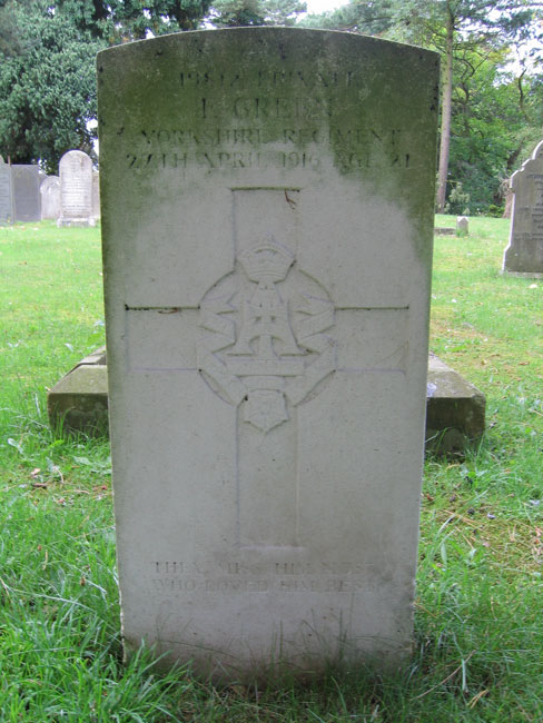 The grave of Private Frank Green