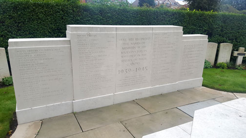 The Second World War Screen Wall in Hendon Cemetery and Crematorium