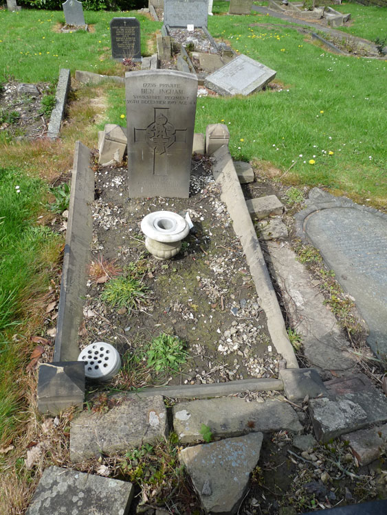 The Ingham Family Grave in Leeds (Farnley) Cemetery in which Private Ingham's Headstone is located.