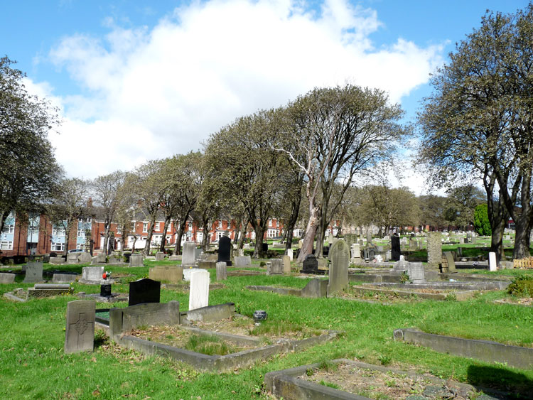 Private Gibson's headstone, - left foreground, in Newcastle-upon-Tyne (St. John's Westgate and Elswick) Cemetery