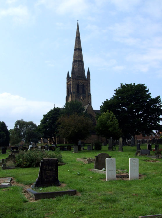 Ossett (Holy Trinity) Churchyard, with Private Sheard's grave on the left of the two CWGC headstones