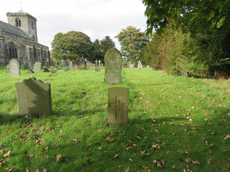 Rudston (All Saints') Churchyard and L/Cpl Etherington's Headstone