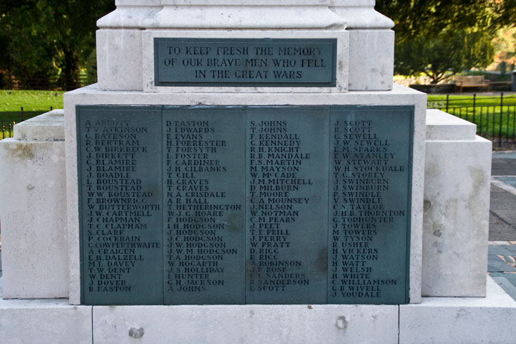 The Names of the Fallen in the First World War on the Memorial for Keswick, Cumbria.