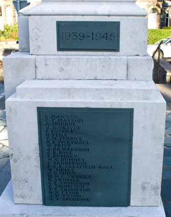 The Names of the Fallen in the Second World War on the Memorial for Keswick, Cumbria.