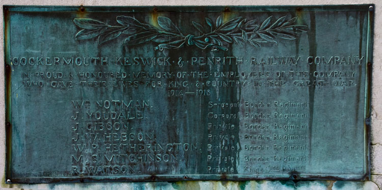 The Names of the Men of the Cockermouth, Keswick & Penrith Railway Company on the Memorial for Keswick, Cumbria.