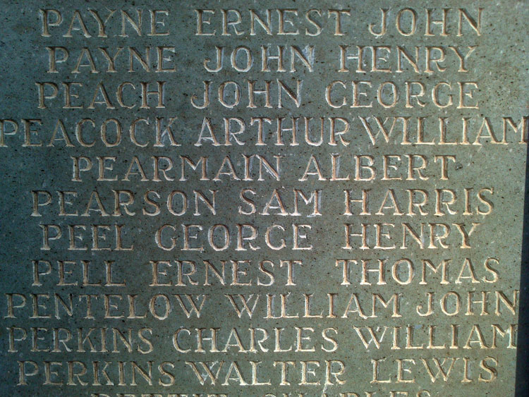 George Peel 's Name on the War Memorial for Kettering, Northants