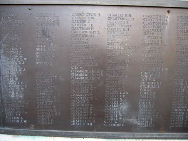 The Memorial to the Midland Railway Casualties, Derby, showing the plaque with John Greenbank Campbells's name listed.