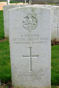 An Unknown Yorkshire Regiment Soldier buried in this cemetery.