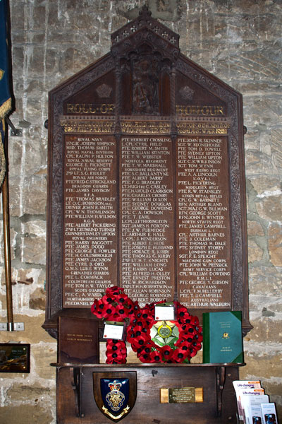 The War Memorial in St. Peter's Church, Redcar (Cleveland)