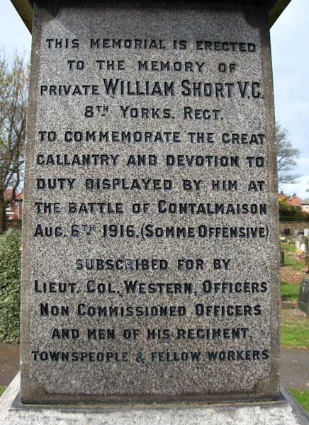 The Memorial Obelisk to William Short, VC