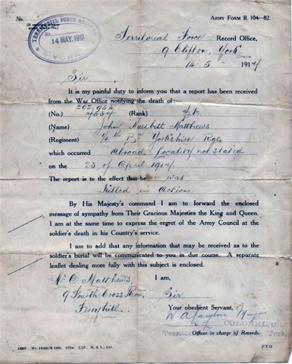 The yorkshire regiment ww1 remembrance photos of individuals the official letter notifying his father of john naisbitt matthews death spiritdancerdesigns Gallery