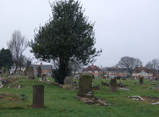 The area in Walsall (Ryecrift) Cemetery containing Private Coomb's grave (left foreground).