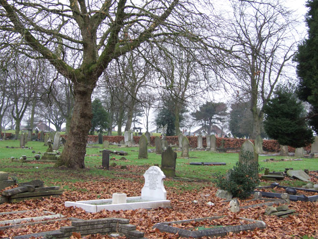 The area in Walsall (Ryecroft) Cemetery containing SErjeant Tait's grave (centre foreground).