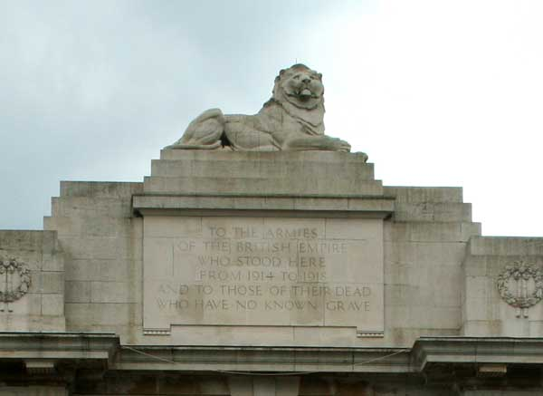 One of the Lions at the top of the Menin Gate Memorial