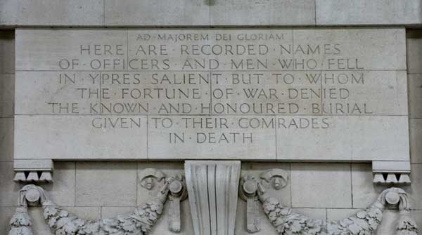A Dedication on the Menin Gate Memorial